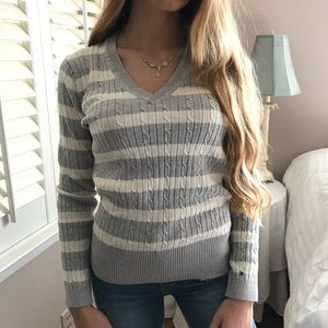 Tommy Hilfiger Cozy Gray White Luxe Sweater